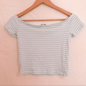 Off the Shoulder Blue and White Striped Crop Top